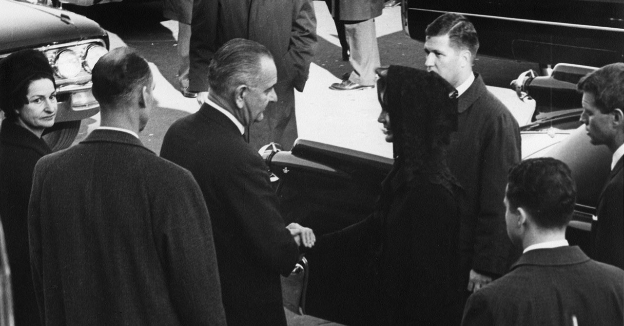 LBJ greets Jackie Kennedy at the funeral of President John Kennedy