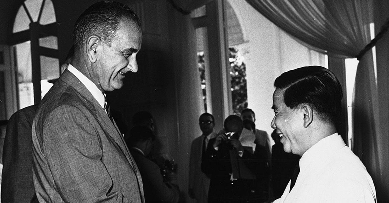 LBJ with the president of South Vietnam,NgôĐinhDiệm