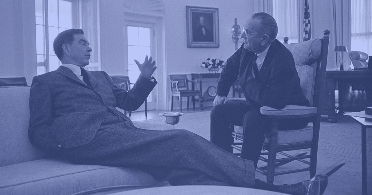 LBJ talks with George Mahon in the Oval Office
