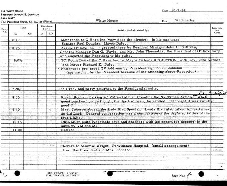 Presidential Daily Diary, 10/7/1964