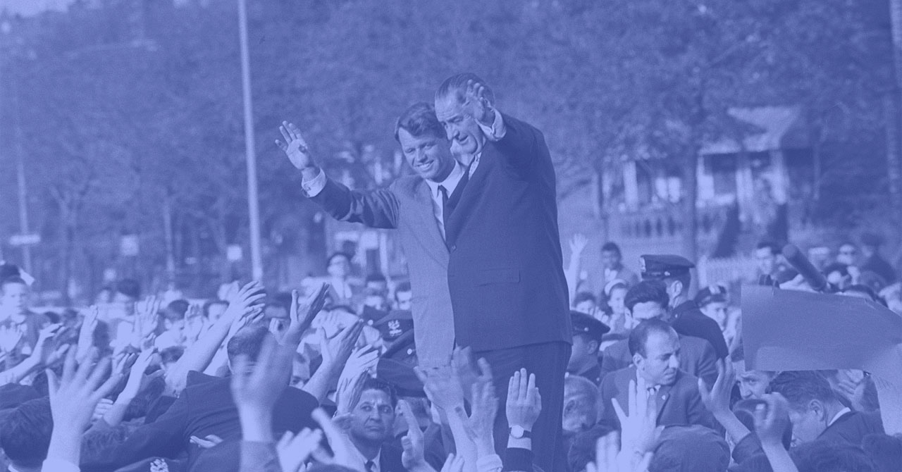 Robert Kennedy and LBJ waving to crowd