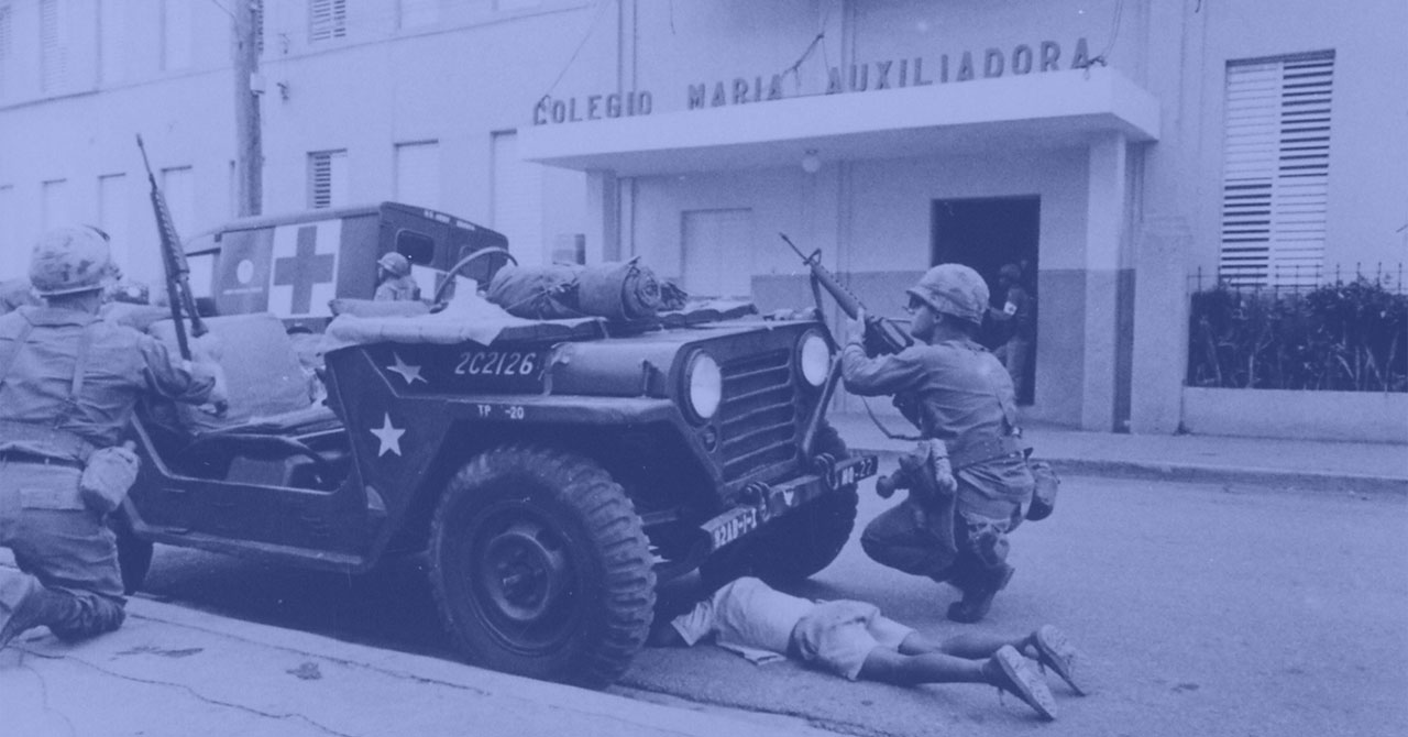 US soldiers next to a jeep in the Dominican Republic
