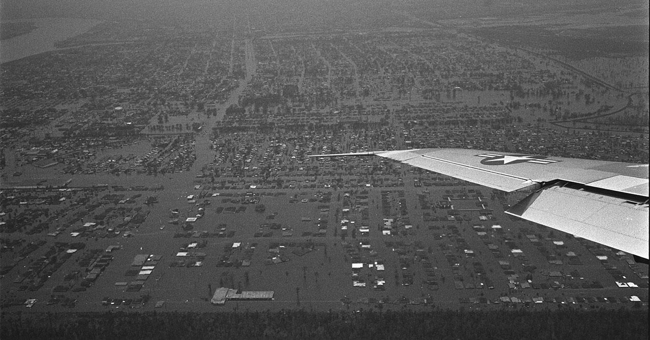aerial photo of flooded Louisiana from Hurricane Betsy