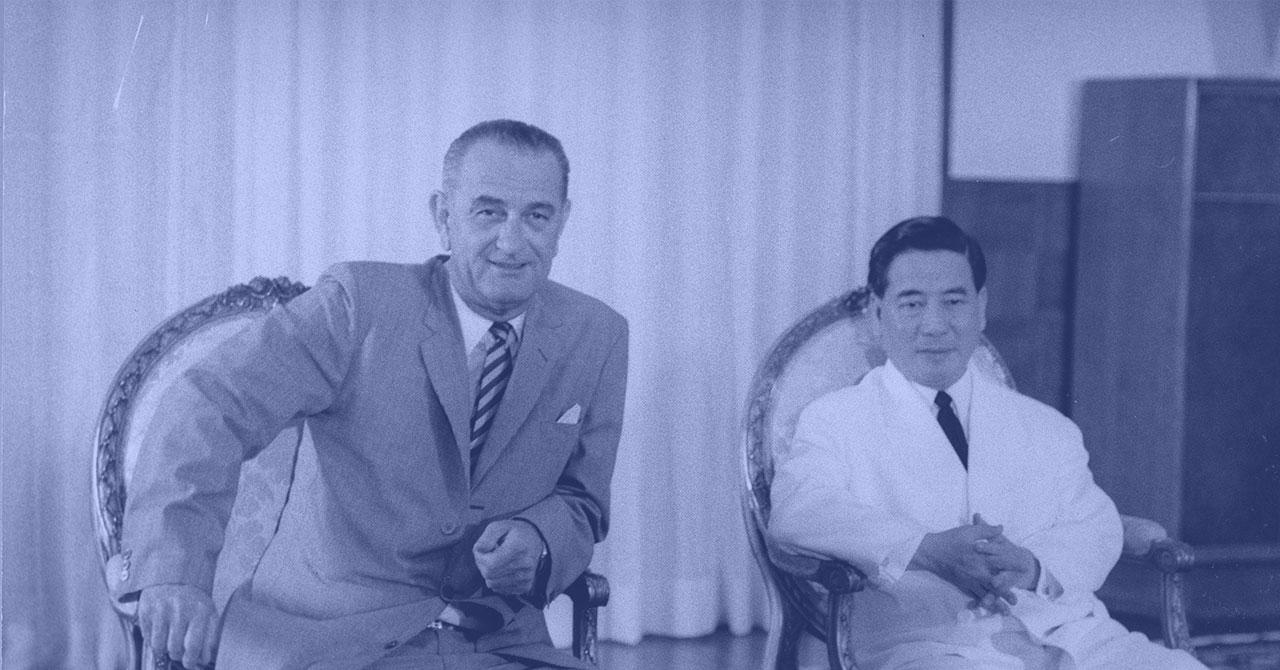 President Johnson sitting next to NgôĐinhDiệm