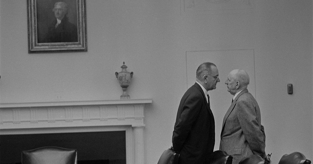 LBJ standing very close to Richard Russell