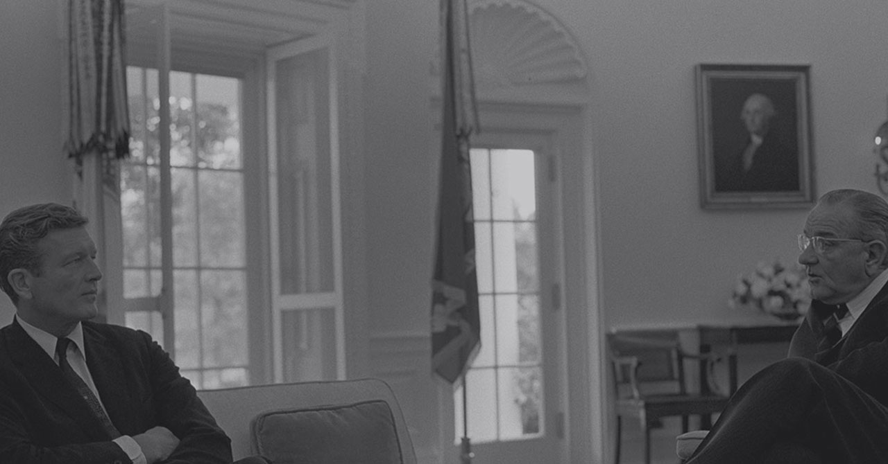 John Lindsay sits in the Oval Office with President Johnson