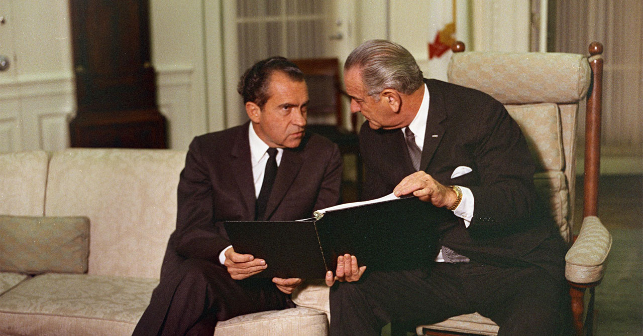 Richard Nixon and LBJ sitting next to each other