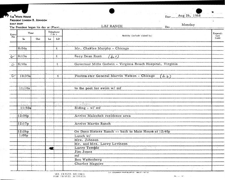 Presidential Daily Diary, 8/26/1968