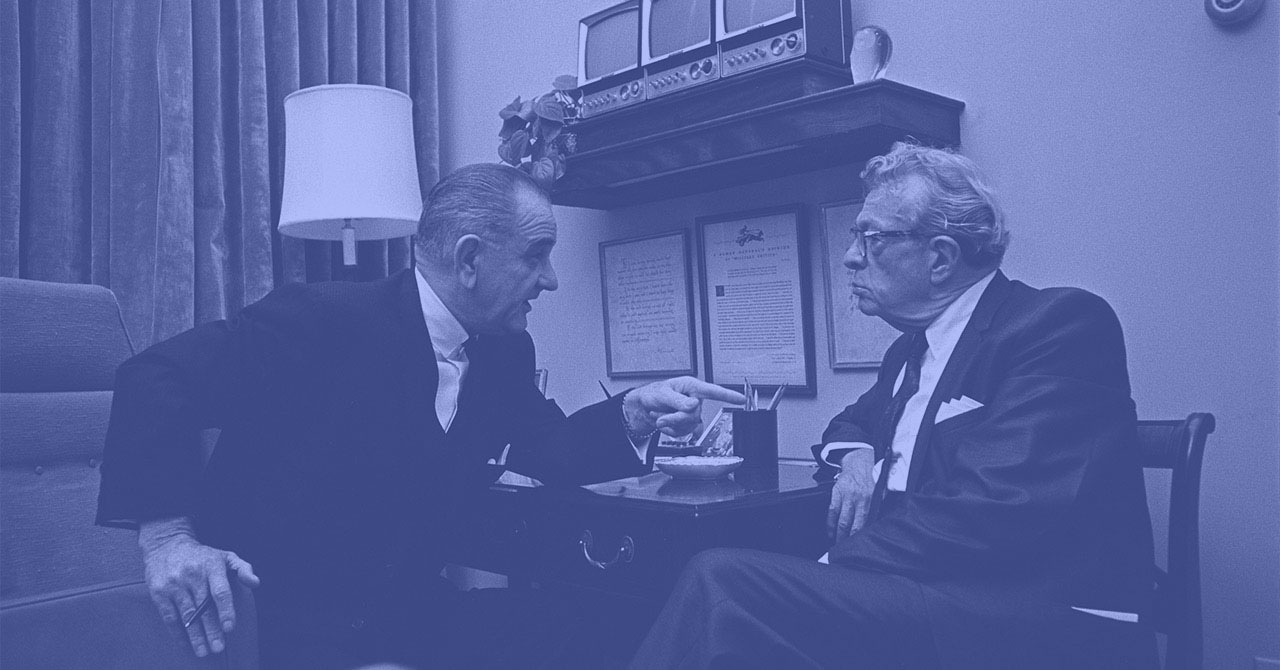 LBJ and Dirksen sitting and talking