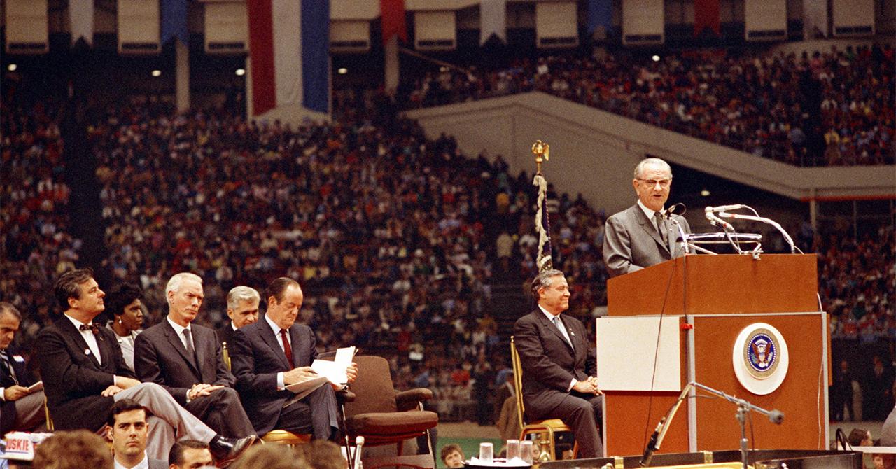 LBJ speaking at the 1968 Democratic convention