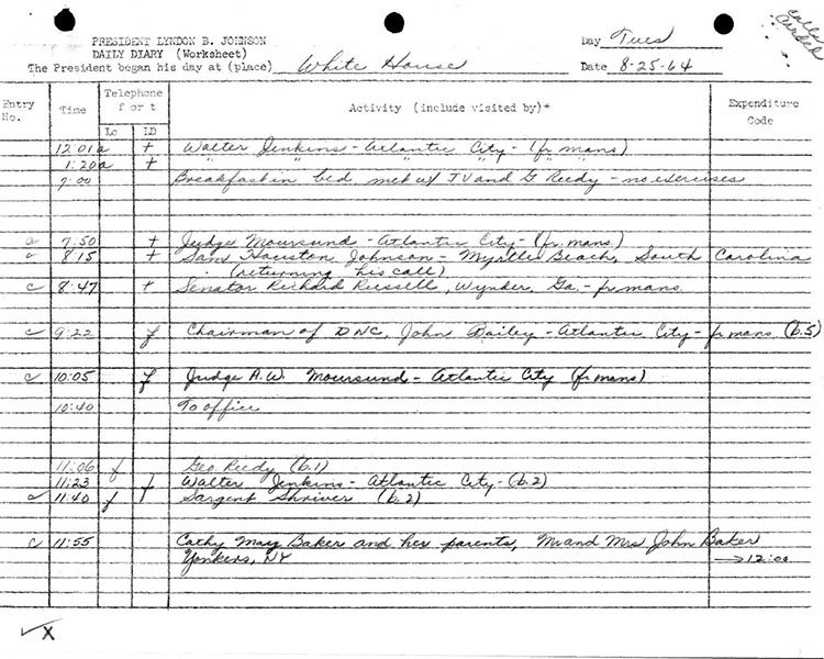 Presidential Daily Diary, 8/25/1964