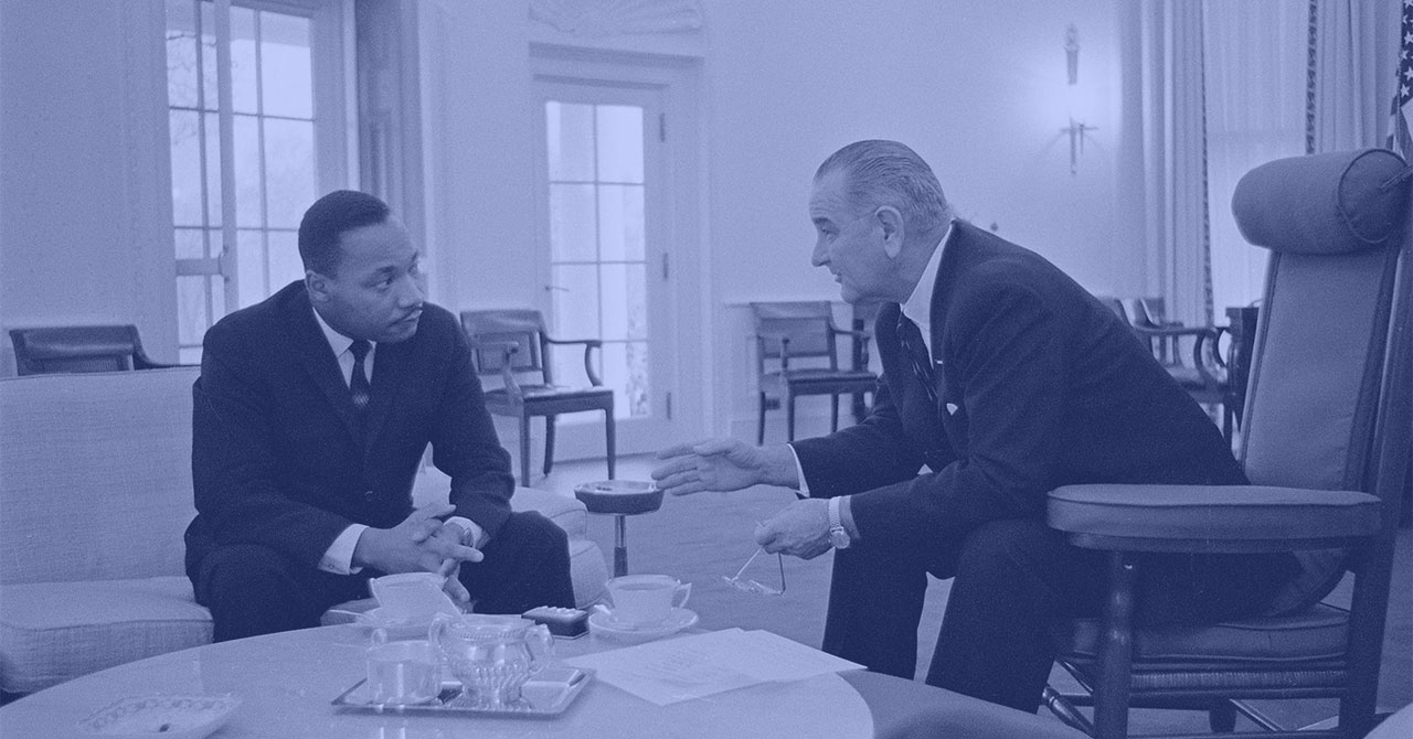 LBJ and MLK sit together during a meeting in the Oval Office
