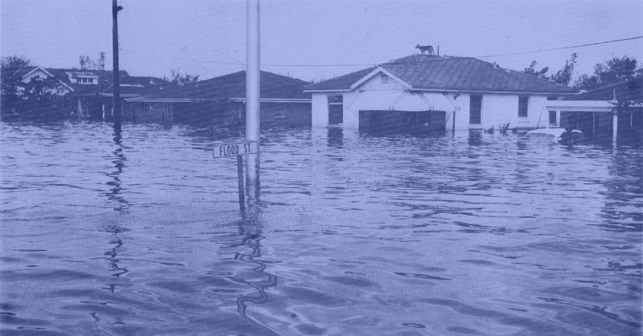 Flooding in New Orleans after Hurricane Betsy
