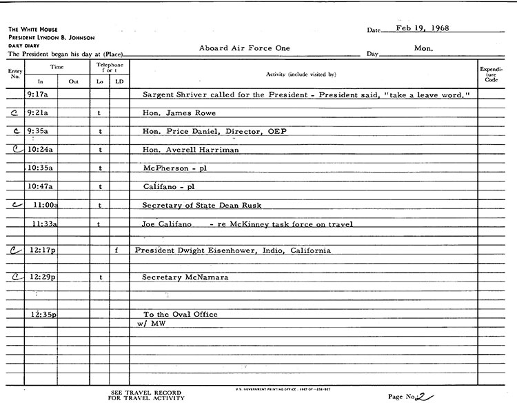 Presidential Daily Diary, 2/19/1968