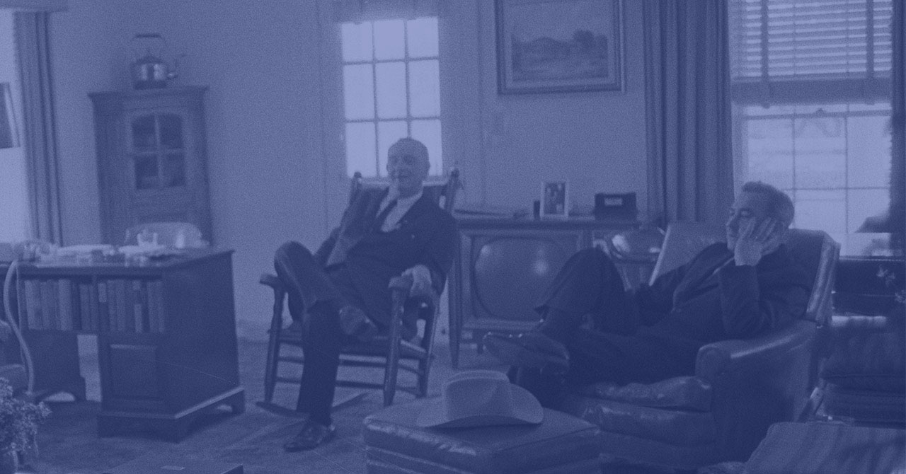 LBJ and Eugene McCarthy relaxing at the LBJ Ranch