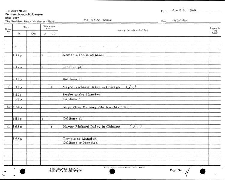 Presidential Daily Diary, 4/6/1968