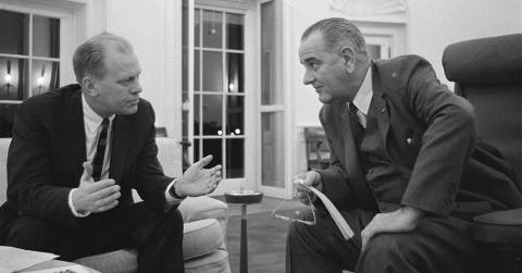 Gerald Ford and LBJ talk in the Oval Office